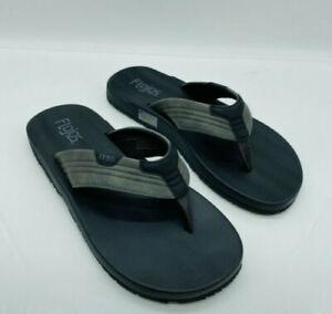 Flojos Men's Memory Foam Thongs Flip Flops Sandals Grey Black