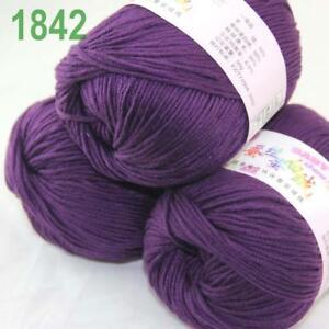 DK Baby Cashmere Silk Wool Crochet Children Hand knit Scarf Yarn 3x50gr Balls 37