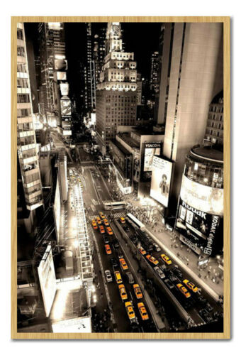 Framed New York Taxis Times Square Aerial View Poster Ready To Hang Frame