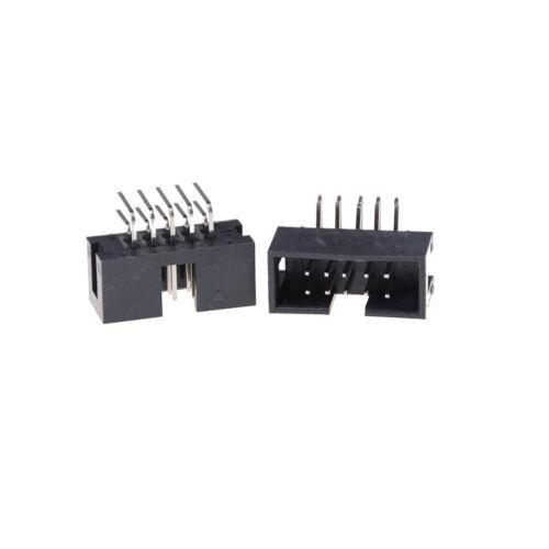 10x DC3-10P 2.54mm 2x5 Pin rechtwinkliger männlicher ummantelter Kopf IDC Sock ^