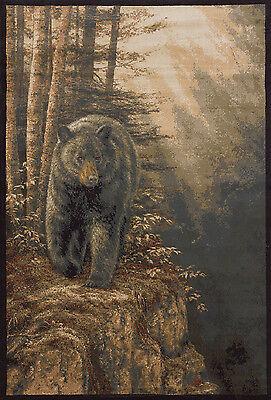 "5x8 (5'3"" x 7'6"") Lodge Cabin Rustic Black Bear Forest Decor Area Rug"