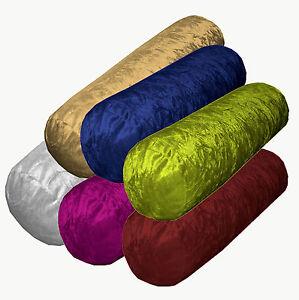 Mn-Crinkle-Crush-Shimmer-Velvet-Bolster-CASE-Yoga-Neck-Roll-Cushion-COVER-Size