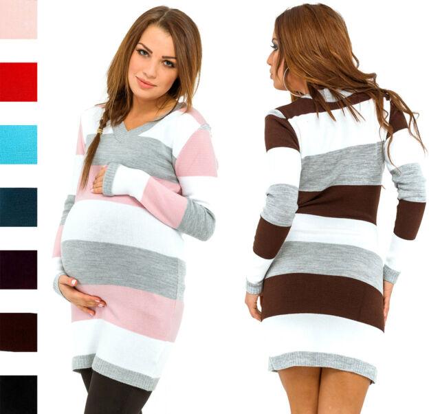 73a94d1e7 Happy Mama Womens Maternity Stretch Knit Colour Block Jumper Mini ...