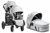 Baby Jogger City Select Twin Double Stroller Silver W/ Second Seat And Bassinet