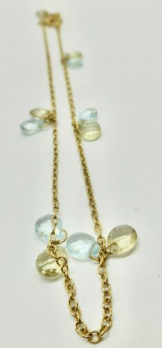18K YELLOW GOLD OVAL GREEN AND BLUE TOPAZ ANKLET