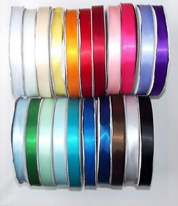 Satin-Ribbon-Double-Sided-20mm-3-4-034-wide-2-5-or-10m-lengths-Lots-of-Colours