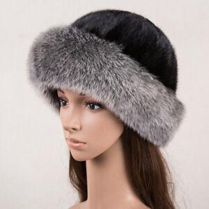 4524349a2 Vintage Womens Fox Fur Hat Genuine Black Mink Fur Hat Cap Russian ...