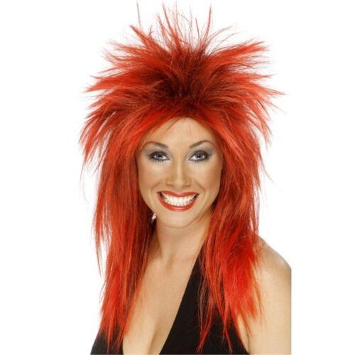 Lungo rosso donna 80s Triglia ROCK Diva Parrucca-Costume Punk Costume Nero