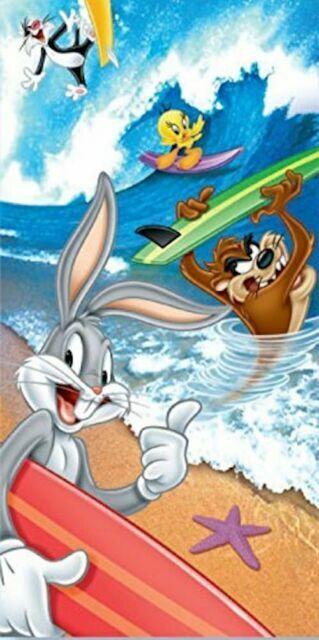 New NIP Looney Tunes Bugs Bunny Tweety Taz Sylvester Pool Bath Beach Gift Towel