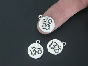 20pcs Silver Tone OHM OM YOGA Symbol Charms Beads Pendant Jewelry Findings 13mm