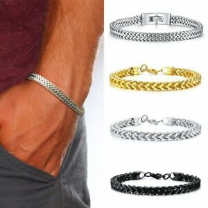 Silver-Men-039-s-Stainless-Steel-Keel-Chain-Link-Bracelet-Wristband-Bangle-Jewelry