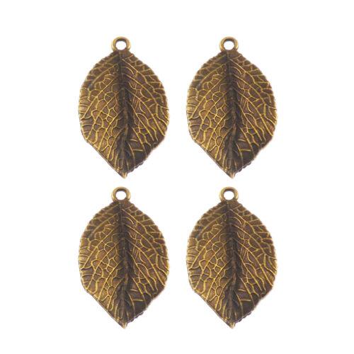 16pcs Vintage Bronze Tone Tree Leaf Shape Zinc Alloy Jewelry Charms Pendants