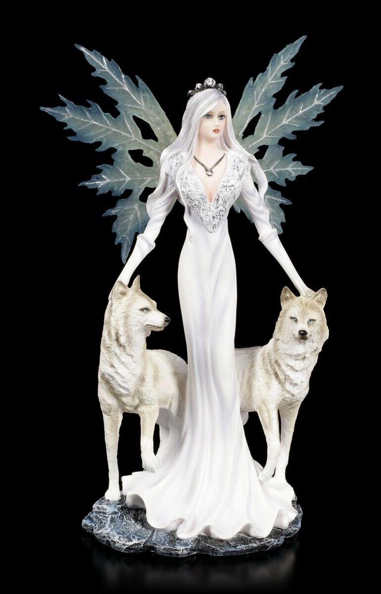 Elfen Figur - Maylea mit weißen Wölfen - Fantasy Fee Engel Hund Dekostatue