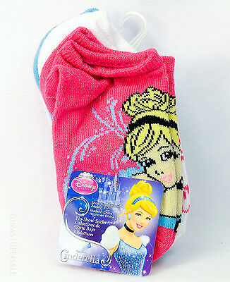 Disney Cinderella Kids Socks 5 Pairs Show Size 4 to 7 1/2 Pink White Blue Colors