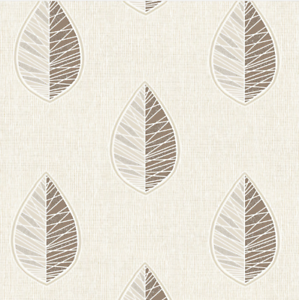 SALESimple Scandi Leaf WallpaperBeige Choc Silver GlitterCWV M1254