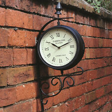 Outdoor Garden Paddington Station Wall Clock Outside Bracket Double Sided NEW