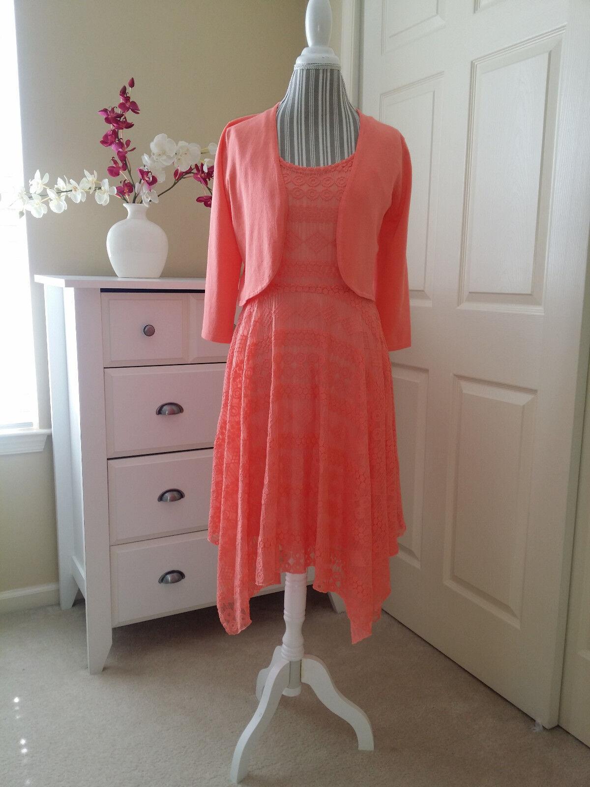 NWT CUPIO Coral Coral Coral bluesh Hanky Lace Ladies Dress with Knit Shrug Cardigan Sz.M  146 ba02a6
