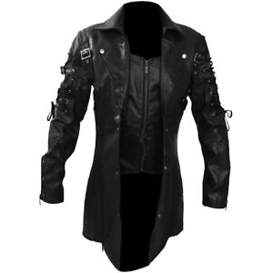 Men-REAL-Black-Brown-Red-White-Leather-Goth-Matrix-Trench-Coat-Steampunk-Gothic