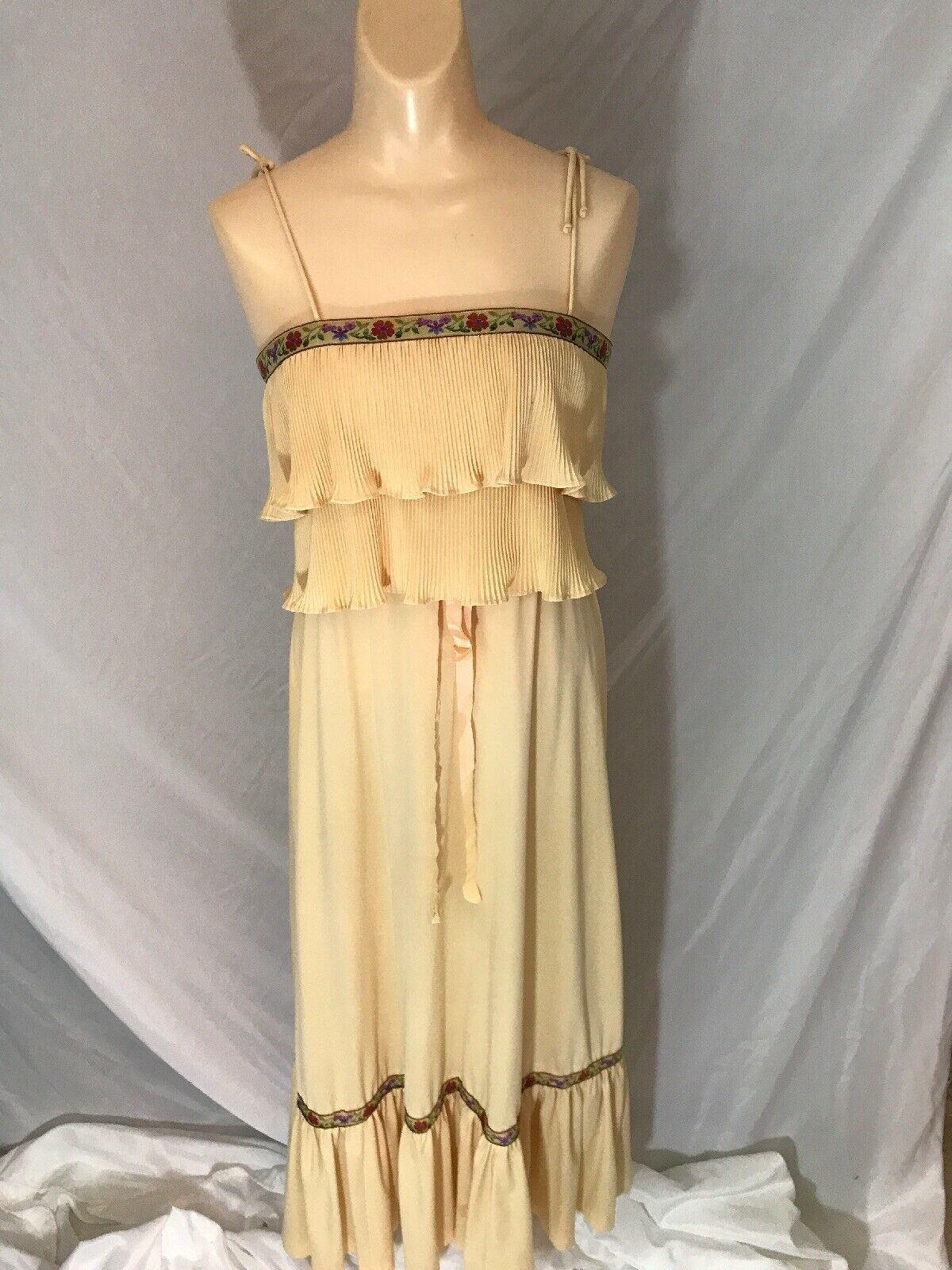 Vtg Womens Spaghetti Strap Maxi Dress Tan Brown Beige Floral Handmade Polyester