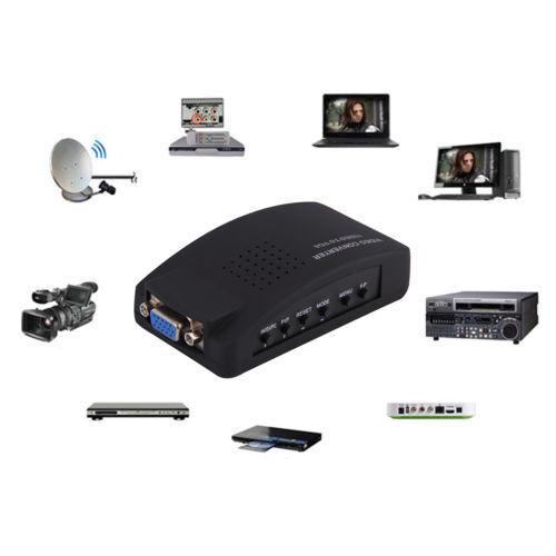 AV to VGA HD Converter Adapter TV RCA Composite Monitor S-Video US UK EU AU GB