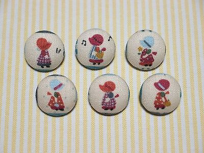 20mm 6 Blue Sun Bonnet Holly Hobby Fabric Covered Buttons