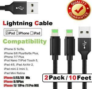 2-CONF-10Ft-Lightning-Cavo-per-iPhone-6-7-8-Plus-iPad-Caricabatterie-Mini-Pro-Air-Cord