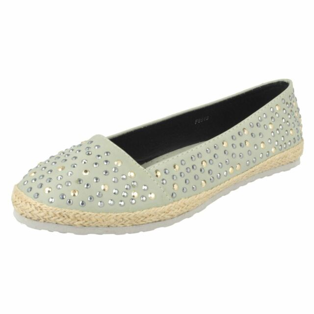 Clothing, Shoes & Accessories Women's Shoes Spot On Ladies Diamante Flat Ballerina