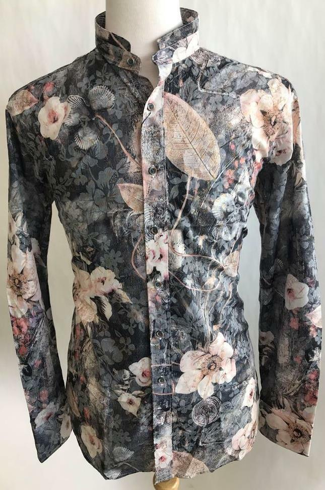 Men's Lanzzino Floral Print Long Sleeves Casual Grey Shirt Style SLP142