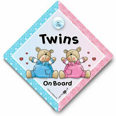 Baby On Board Sign Suction Cup Sign Twins Car Sign Twins On Board Car Sign