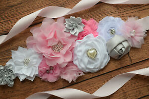 Sash Pink Grey White Sash Flower Belt Maternity Sash Baby Shower