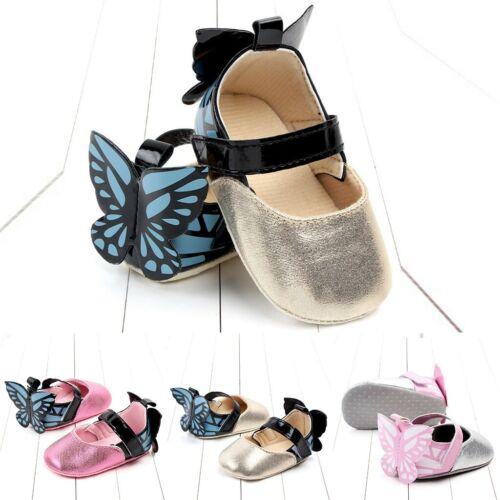 Newborn Baby Girls Boys Butterfly Cute Soft Sole Pram Crib Shoes Infant 0-18M