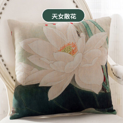 Big Lotus Flowers Cushion Cover Office Home Car Decor Linen Pillow Case