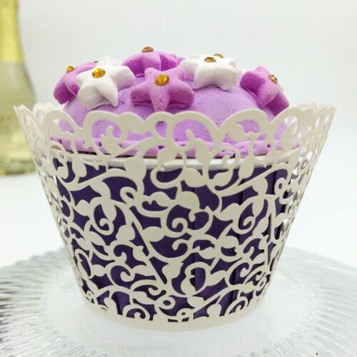 12 x filigrane Cupcake Wrappers cas Découpe Laser Mariage UK *