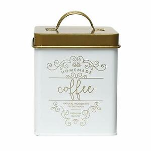 White Gold Square Metal Coffee Canister