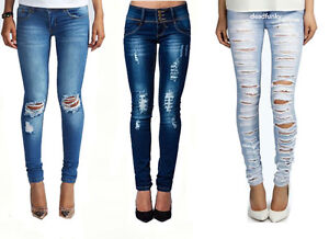 WOMENS LADIES SKINNY FIT RIPPED JEANS DENIM BLUE SIZE 8-14 | eBay