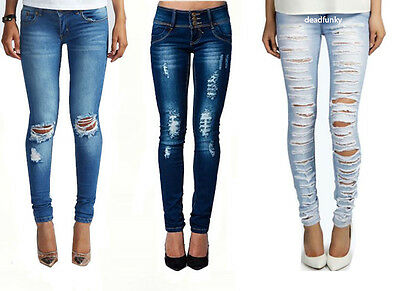 WOMENS LADIES SKINNY FIT RIPPED JEANS DENIM BLUE SIZE 8-14