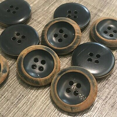 Real Horn Button J477 Lot 6 32L 20mm Thick Natural Brown Bouton Blazer Knopf