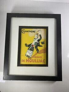 Vintage-2003-Champagne-Vicomte-De-Moulliac-3-D-Vintage-Poster-Shadowbox-NICE