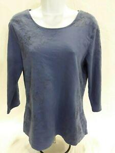Women-039-s-Medium-Blue-Coldwater-Creek-Knit-Top