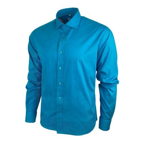 Men's Formal Plain Shirt D-Cuff Wedding Business Work Slim Long Slev Cotton Blue