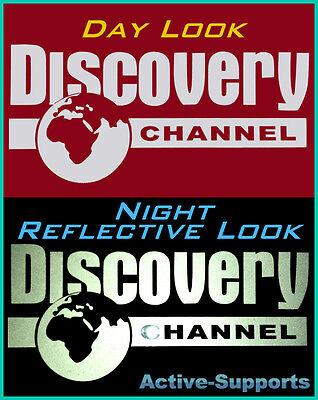 White Discovery Channel REFLECTIVE Sticker SUV 4WD OFF ROAD 4X4 QUATTRO 4 MOTION