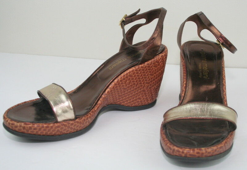 Gianna Meliani  Gold Copper Ankle Strap Woven Wedge Sandaleen Heels 39 9
