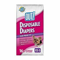 Out Disposable Dog Diapers X-small / Small, New, Free Shipping, 16 Count