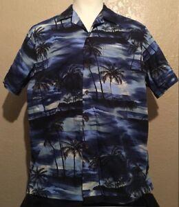 01c7acf58 RJC Men's Size XL Cotton Blue Sunset Surfing Palm Trees Hawaiian ...
