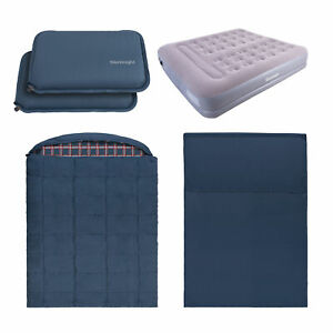 Silentnight Camping Bundle Adult Double Sleeping Bag & Liner King Airbed Pillows