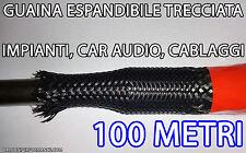 100 metri GUAINA ESPANDIBILE TRECCIATA Ø da 3 a 6 mm PER CAVI. CAR AUDIO TUNING