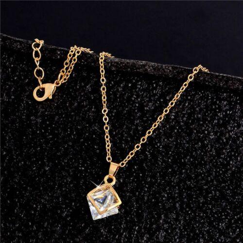Damen Schmuck Set Gold Silber Halskette Ohrringe Anhänger Kristall Zirkonia