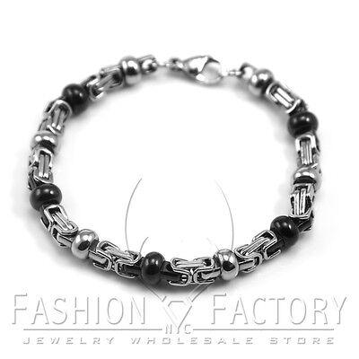 Men's Stainless Steel 5mm Silver & Black Beads Box Link Chain Bracelet Heavy M12