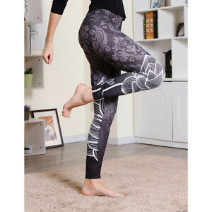 d971242534 Demask with Lotus Printed High Waist Yoga Sports Leggings plus size ...