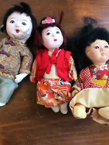 Set-of-three-composition-Chinese-dolls-VINTAGE-boy-and-two-girls